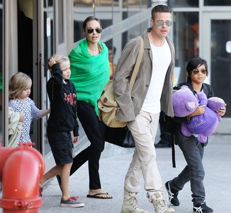 The Jolie-Pitt family flew into Los Angeles from Australia on Wednesday afternoon