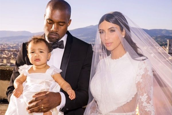 The West clan are the picture of happy families in this brand-new Kimye wedding photo