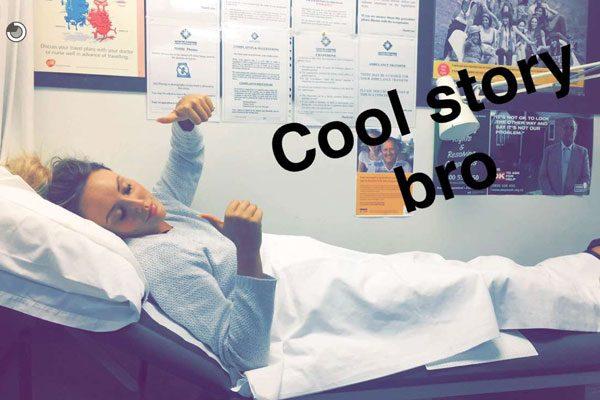The Geordie Shore star in hospital