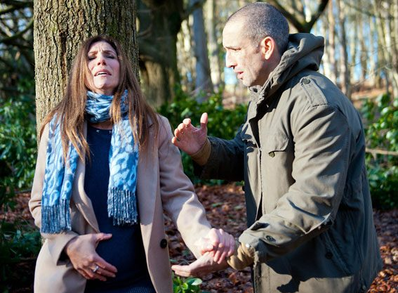 Megan will follow Sam into the woods after a row and ends up going into labour – will she be okay?