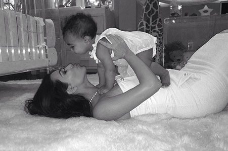 Kim Kardashian posted this image of herself with baby North online