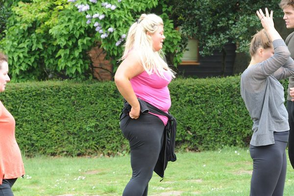 Gemma threw herself into the exercises as she aims to get in shape for 'Marbs'!