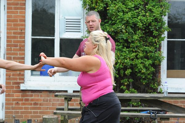 Gemma Collins is put through her paces during one of the bootcamp's hardcore exercise classes