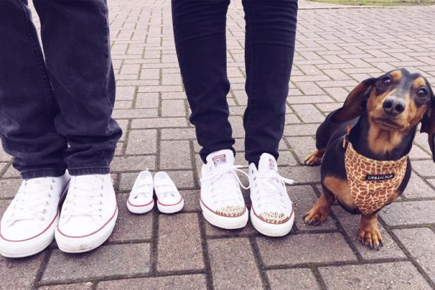 Maria Fowler and Kelvin Batey announced the good news with this adorable snap