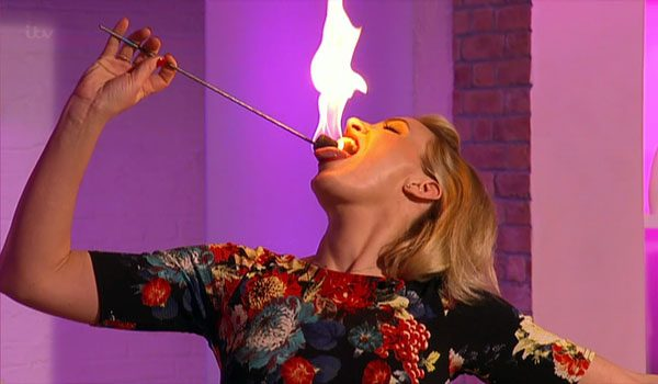 The show saw Claire Richards try out fire breathing