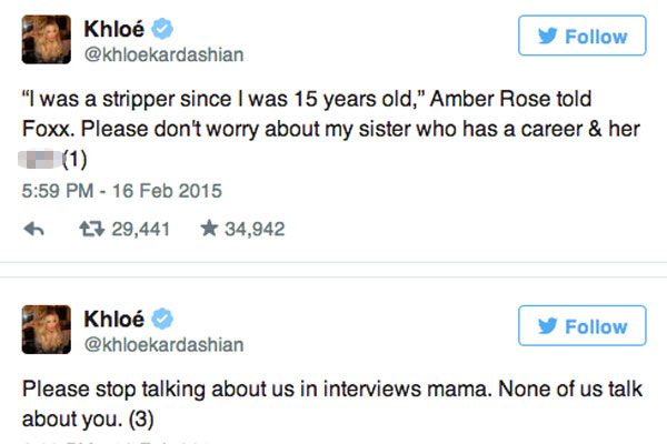 Khloe tweets about Amber