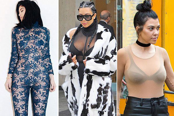 Kylie Jenner, Kim Kardashian and Kourtney Kardashian wear sheer at NYFW