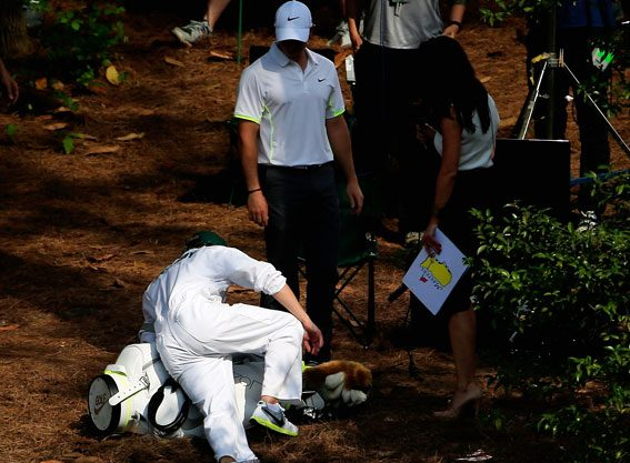 Nial Horan fell over while caddying at the Masters Par 3 competition
