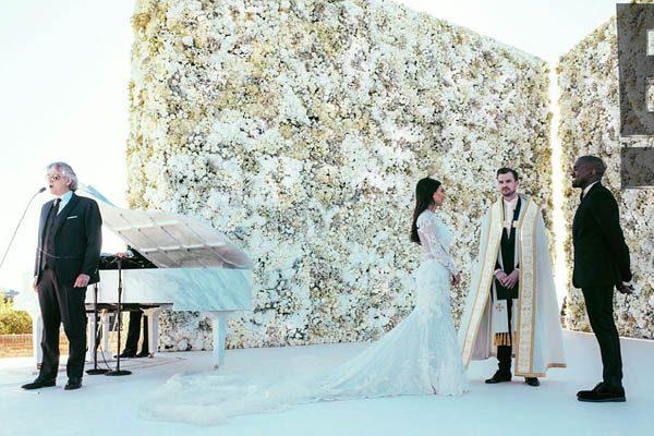Kanye West beams as Andrea Bocelli serenades Kim Kardashian