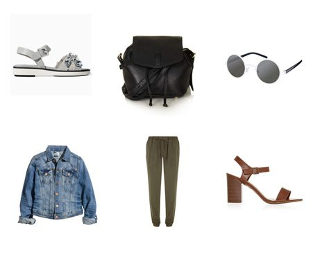 Clockwise: Sandals, £59.99, Zara; Rucksack, £65, Topshop; Sunglasses, £12, ASOS.com; Heels, £14.99, New Look; Trousers, £28, Dorothy Perkins; Jacket, £24.99, H&M
