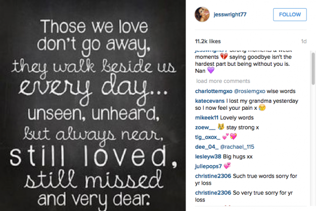 Jess' emotional Instagram post