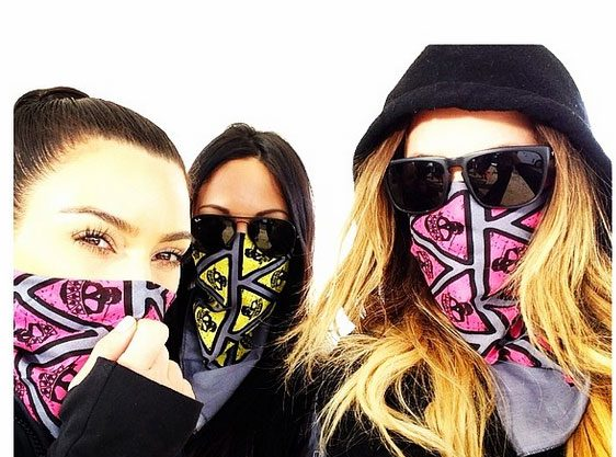 Kim Kardashian, Khloe Kardashian  and their pal Steph keep their make-up in perfect condition by donning bandanas over their mouths