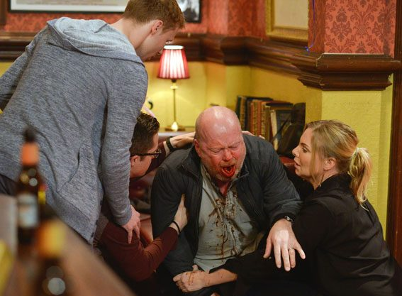 Phil Mitchell will leave his family, and viewers, horrified next week when he coughs up blood before collapsing