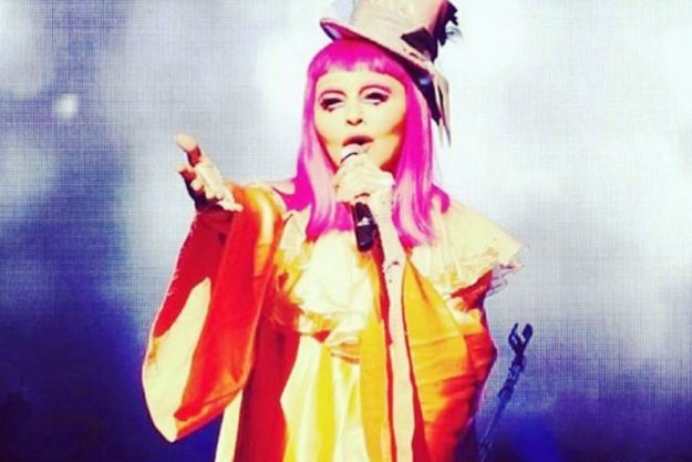The 57 year old singer appeared on stage in Melbourne dressed as a clown