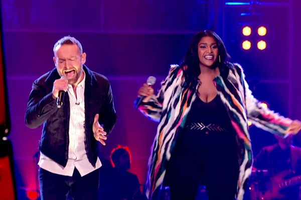 Kevin Simm and Faith Nelson battled it out on The Voice over the weekend before Paloma picked Faith for her team