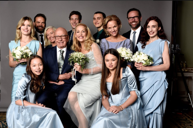 Jerry Hall has shared a family wedding picture with Rupert Murdoch