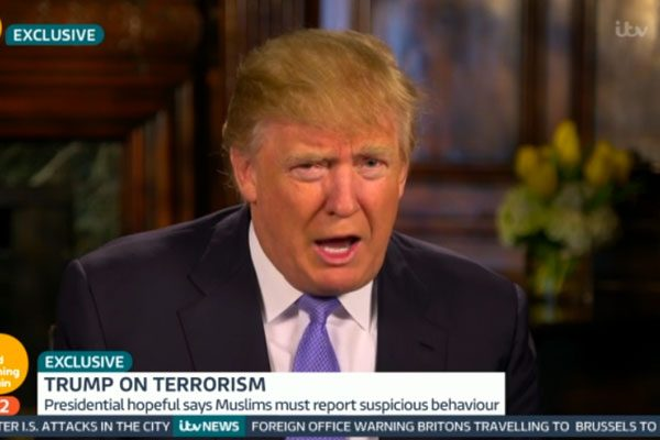 Donald Trump has branded the terrorist attacks in Brussels yesterday 'outrageous' and a 'disgrace'