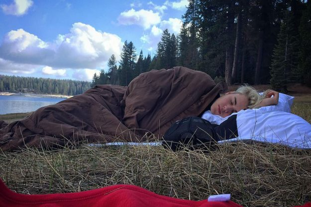 Justin shared a series of snaps including him tucked away in his sleeping back