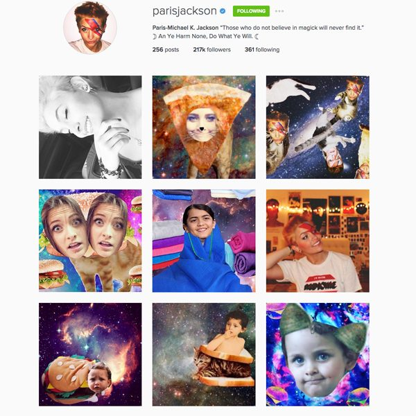 Paris Jackson's Instagram account is now full of arty collages
