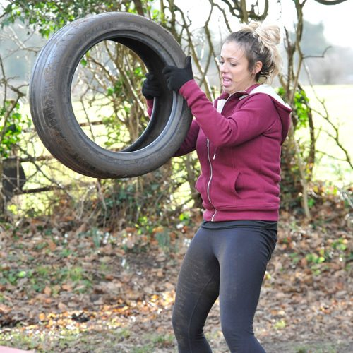 Charlotte Crosby's co-star was seen struggling as the trainer put her through her paces