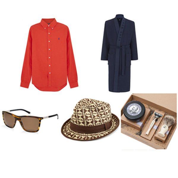 From clockwise: Polo Ralph Lauren shirt, £85 Harvey Nichols; Hugo Boss robe, £119 Harrods; Shaving gift set, £83 Yes Sir; Hat, £19.50 Marks and Spencer; Dolce & Gabbana sunglasses, £204 Sunglass Hut.