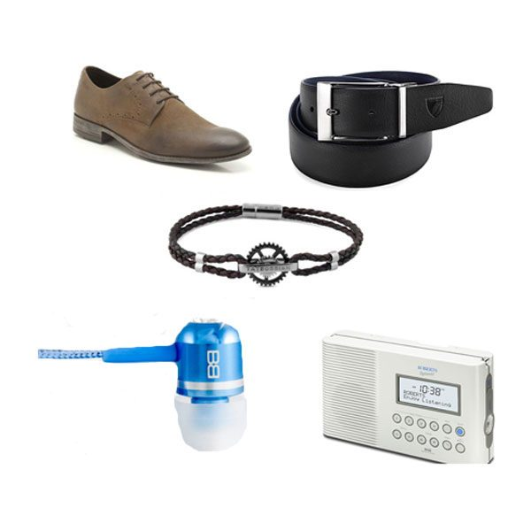 From clockwise: Suede shoes, £64.99 Clarks; Belt, £95 Aspinal of London; Splash radio, £100 Roberts Radio; Earphones, £39.95 Bassbuds; Leather bracelet, £210 Tateossian.
