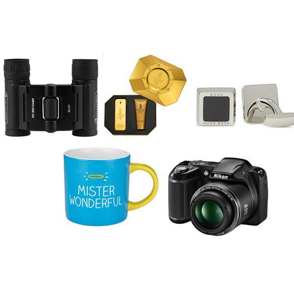 From clockwise: Binoculars, £24.95 John Lewis; EDT Paco Rabanne gift set, £57 Debenhams; Hugo Boss Cufflinks, £65 Selfridges; Nikon camera, £159 Debenhams; Mister Wonderful mug, £7.95 John Lewis.
