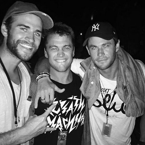 Liam and his brothers Chris and Luke were at the festival with Miley