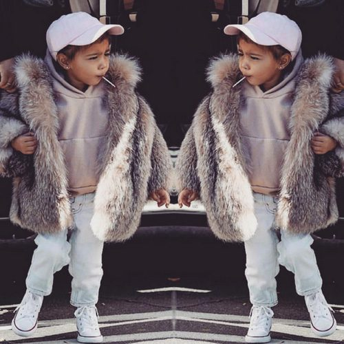 Kim Kardashian shared the photo of North wearing a fur jacket on Instagram