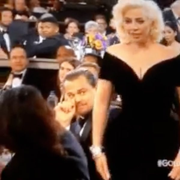 Lady Gaga seems none the wiser as she heads on stage to collect her award