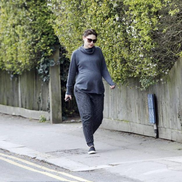 Pregnant Emma Willis covered up her baby bump in a big cowl neck jumper