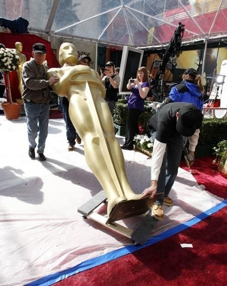 Preparations for tonight's Academy Awards