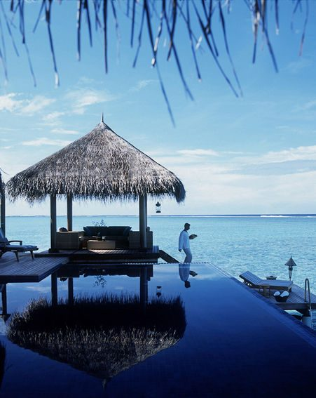 The Taj Exotica Resort & Spa sits on stilts over the water