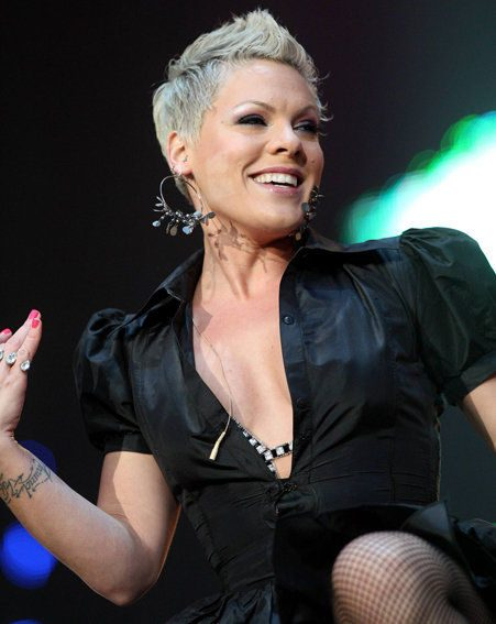 Pink is back on form after falling from the stage last Thursday