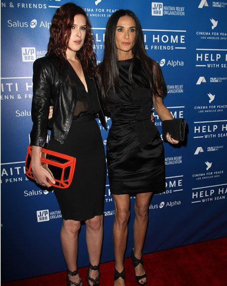 Demi Moore looked worryingly thin as she posed next to her daughter Rumer Willis