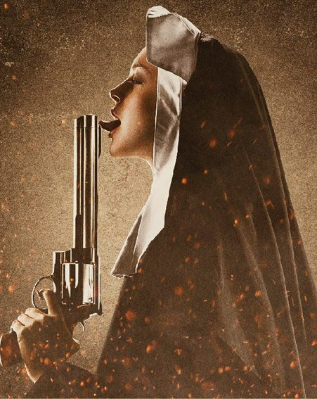 Lindsay Lohan dressed as a nun and licking a gun for her next film, Machete