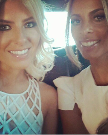 Rochelle Wiseman and Mollie King on their way to the VMA's red carpet
