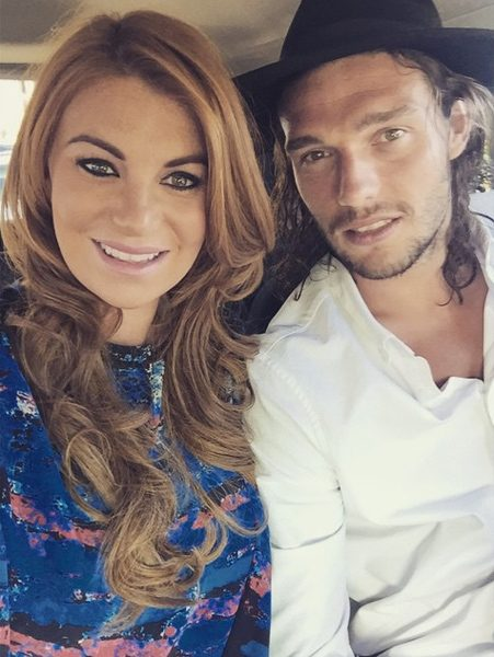 Billi Mucklow and Andy Carroll enjoy their first night away from baby son Arlo
