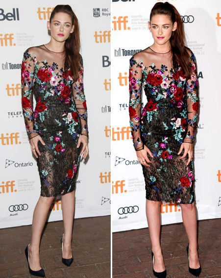 Kristen Stewart looked feminine in a floral print flock and pointy heels