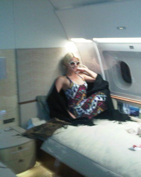 Paris Hilton has tweeted a picture of inside her plush private jet