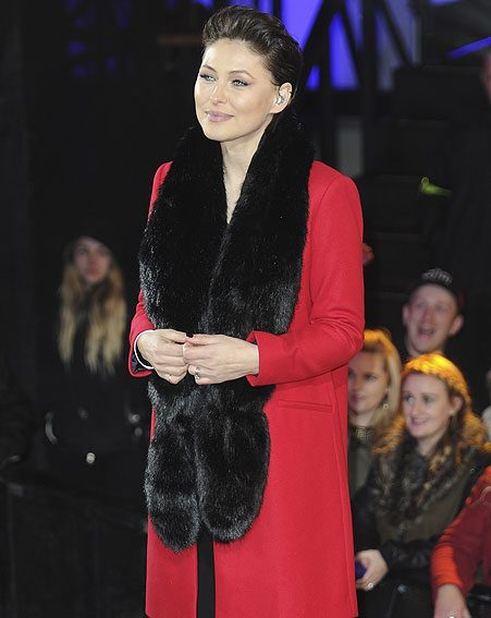 Emma Willis' hair keeps her edgy as she wraps up warm for the winter