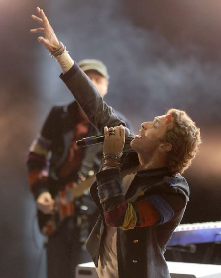 The star performing with his band Coldplay