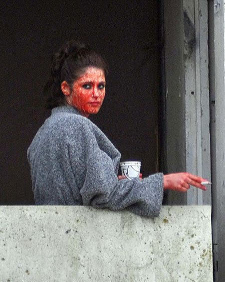 Gemma Arterton was still covered in fake blood on the set of Byzantium yesterday