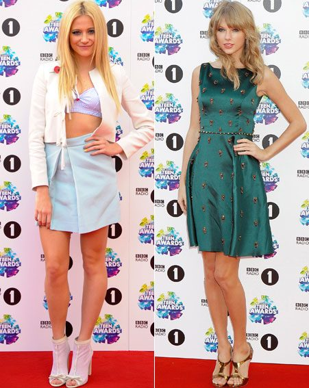 Pixie Lott and Taylor Swift were happy to pose for pictures at BBC Radio 1's Teen Awards 2013