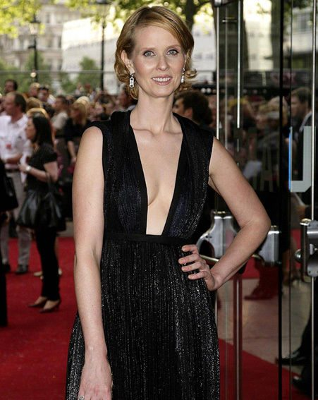 Cynthia Nixon opted for a sexy black dress