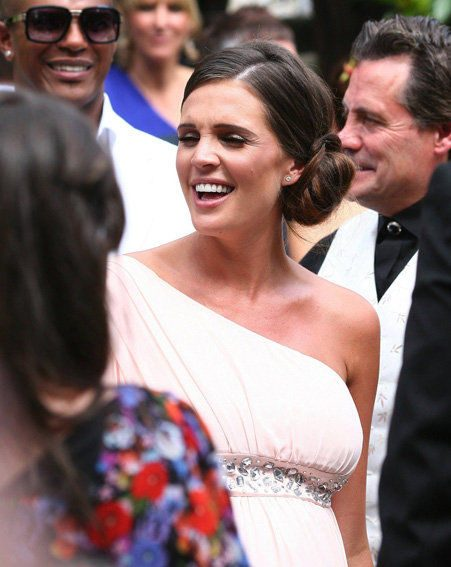 Danielle Lloyd choses grecian beauty to attend the wedding of Alex Reid and Katie Price