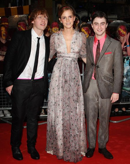 With his Harry Potter co-stars Rupert Grint and Emma Watson