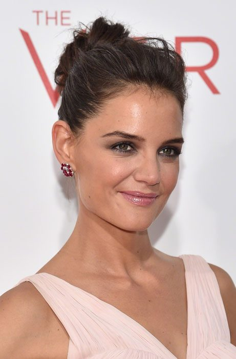 Katie Holmes showed off a stylish messy bun