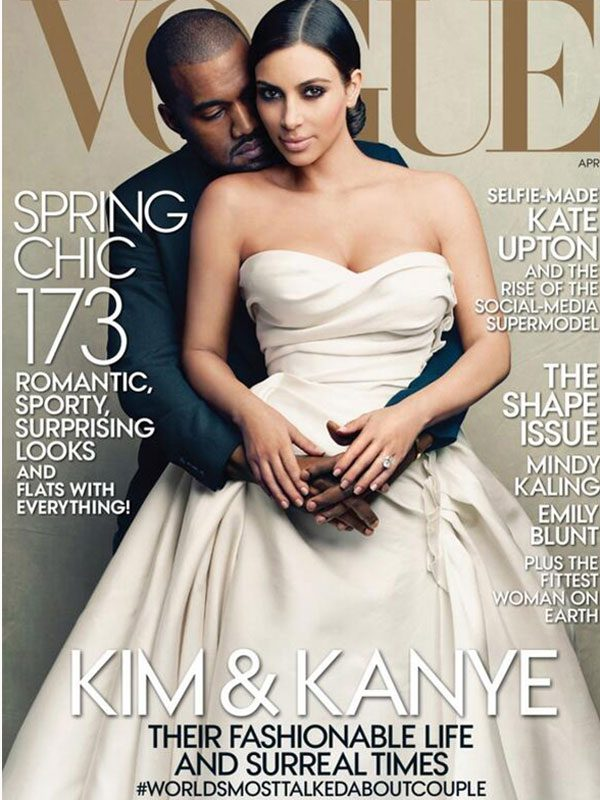 The real Kim Kardashian and Kanye West on the cover of Vogue
