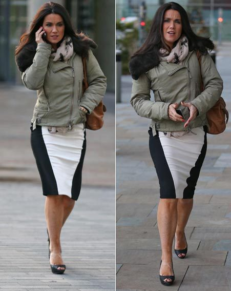 The yummy mummy rocked the streaky bacon look on her way from work